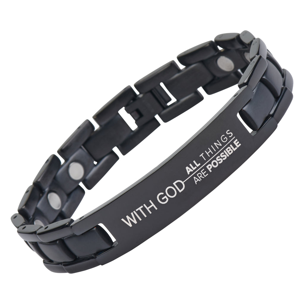 With God All Things Are Possible - Matthew 19:26 - Adjustable Titanium Bracelet - Magnetic Therapy