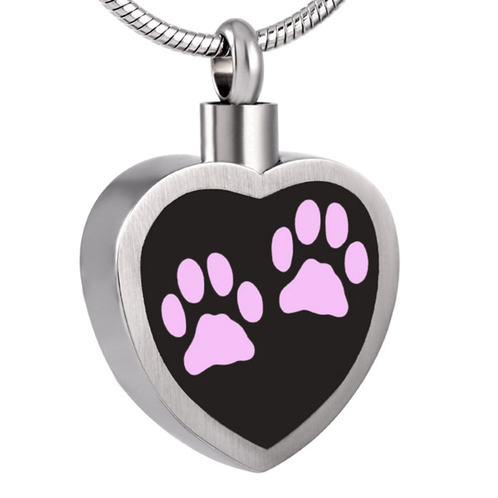 Pet Urn Necklace for Ashes Pink - Cremation Jewelry Dog Cat Keepsake Pendant - Johnston's Cremation Jewelry - 1