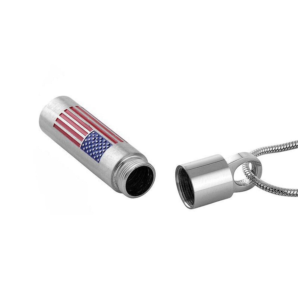 American Flag Urn Necklace - Cremation Memorial Keepsake - Johnston's Cremation Jewelry - 2