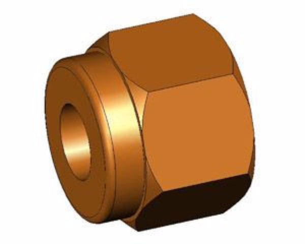 "Nut, 1/4"" brass for compression fittings"
