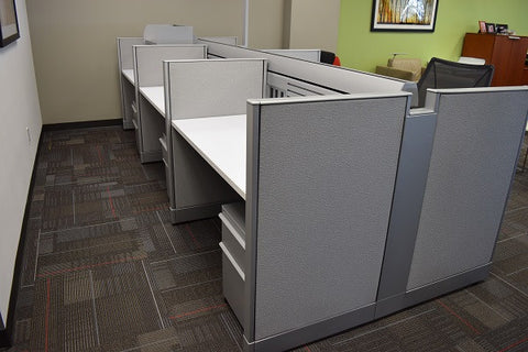"Knoll Currents & Morrison Cubicle Used 4'x2'x42""H Benching Stations"