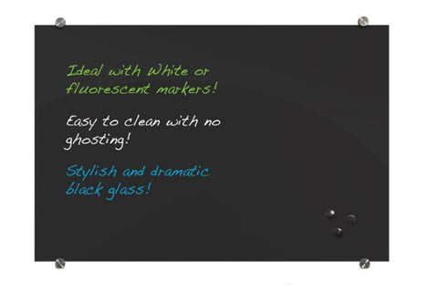 Visionary - Black Magnetic Glass Dry Erase Board
