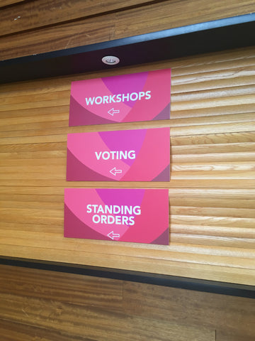 Internal signage at the Labour Party Conference made by Barrow Signs