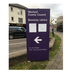 Bunclody Library sign November 2016 - pre refurbishment by Barrow Signs