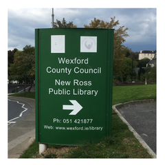 Signage at New Ross Library November 2016 pre-refurbishment by Barrow Signs