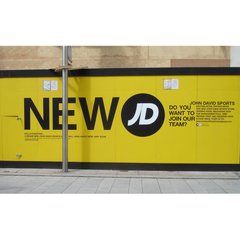 Contract Sign Fitting of Site Hoarding at JD Sports store on Henry Street