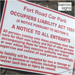 Occupiers Liability (Disclaimer) sign for Car Park by Barrow Signs, a quality Irish based sign maker