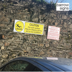 Warning and disclaimer signage installed by barrow signs