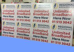Corriboard Signs printed and mounted waiting for cutting to size