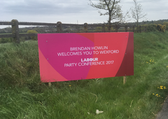 One of 12 8x4 Corriboard Sign made by Barrow Signs for the Labour Party Conference in Wexford