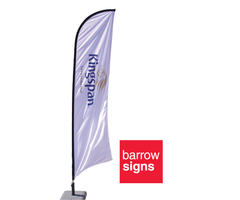 Feather and Teardrop Shaped printed flags from www.barrowsigns.com