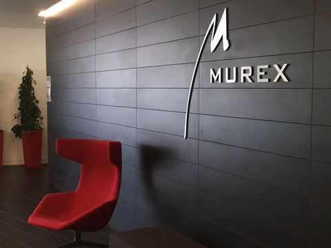 Murex lettering on reception wall in Dublin by Barrow Signs