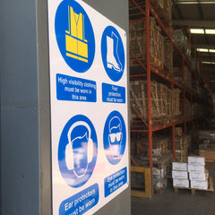 Aluminium warning sign manufactured and installed at Co. Dublin warehouse by www.barrowsigns.com