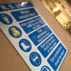 Aluminium Warning Sign at a warehouse in Co Dublin supplied and installed by www.barrowsigns.com