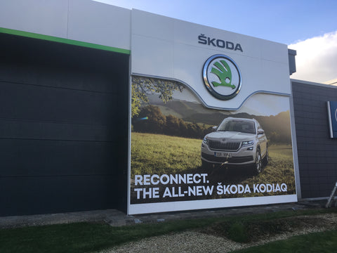 Large external wall graphic installed at Donohoe Skoda by Barrow Signs