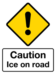 CAUTION ICE ON ROAD SIGNS