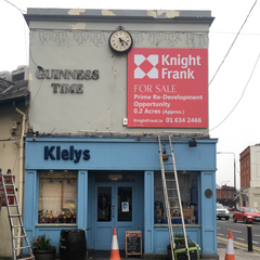 8ft Square sign fitted for Knight Frank at Kiely's of Donnybrook by Barrow Signs