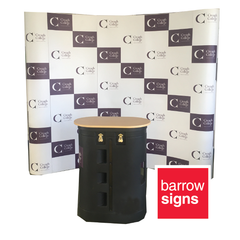 Pop-Up Display wall - ideal signage for trade shows and exhibitions. Available online from www.barrowsigns.com