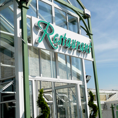 Illuminated lettering at Rathwood by Barrow Signs