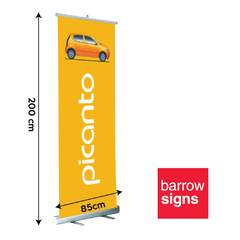 Roll Up Banner. Best Value on line. This trade show essential is available from www.barrowsigns.com.