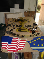 All of the pieces for the Ryder Cup Sign at Barrow Signs workshop