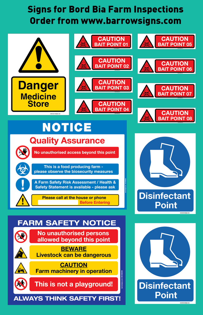 13 signs for €80 to help farmers with Bord Bia Farm Inspections