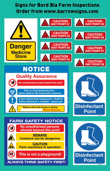 Sign Starter Pack for Bord Bia farm Inspections from barrow signs