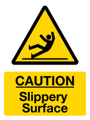 Caution Slippery Surface Sign from Barrow Signs
