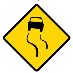 Slippery Surface Road Sign