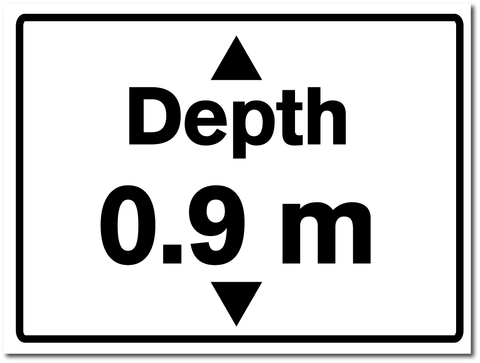 Water Depth Sign 0.9 metres