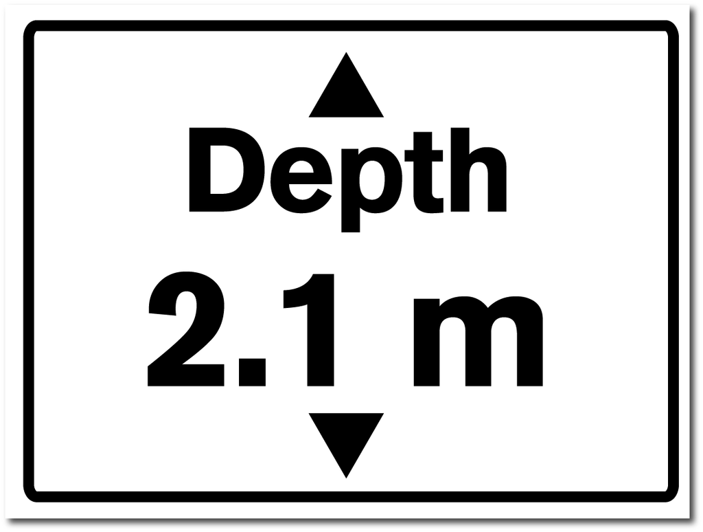 Water Depth Sign 2.1 metres