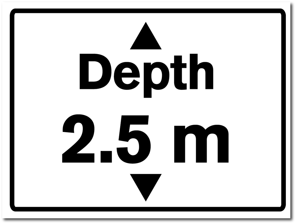 Water Depth Sign 2.5 metres