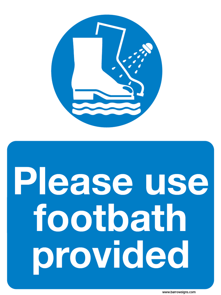 Please use footbath provided sign for farm quality assurance audits. available from www.barrowsigns.com (in stock)