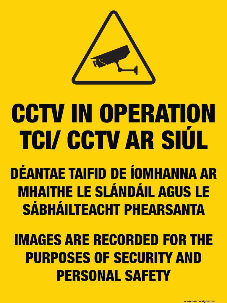 Bilingual CCTV Warning Sign for sale at www.barrowsigns.com