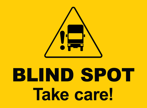 Blind Spot Take Care Sign for Lorry or trailer. For Sale at www.barrowsigns.com