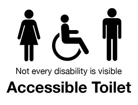 Accessible Toilet Signs White