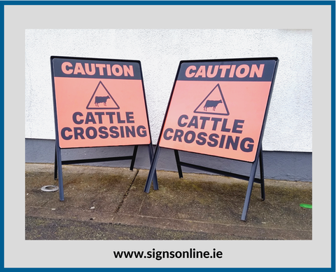 CAUTION CATTLE CROSSING SIGNS ON STEEL STANDS FROM WWW.SIGNSONLINE.IE FREE DELIVERY