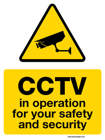 CCTV in Operation for your safety and security sign available from www,barrowsigns.com