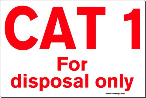 CAT 1 SIGN (Food Industry)