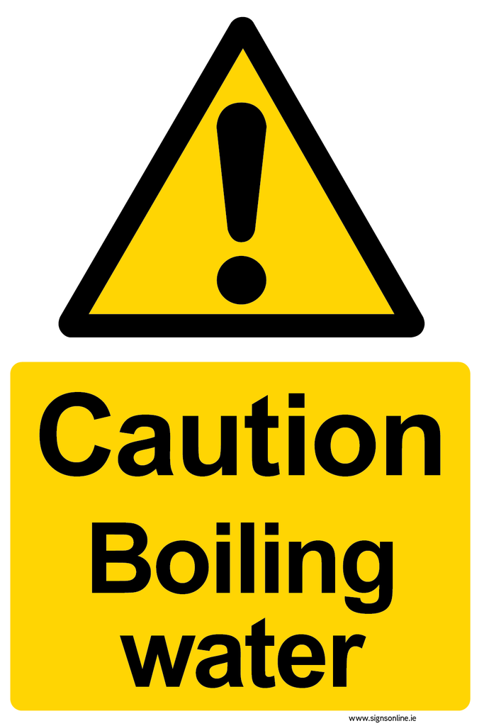 Caution Boiling Water sign available to buy online at Signs Online - www.signsonline.ie