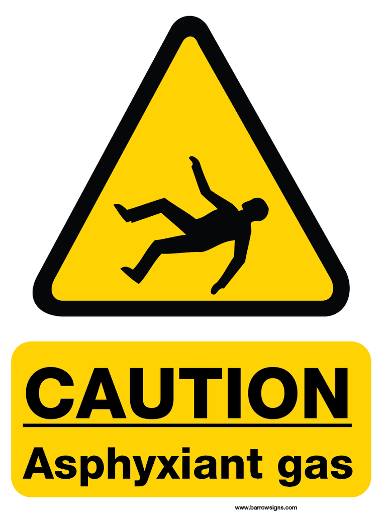 Caution Asphyxiant Gas Sign