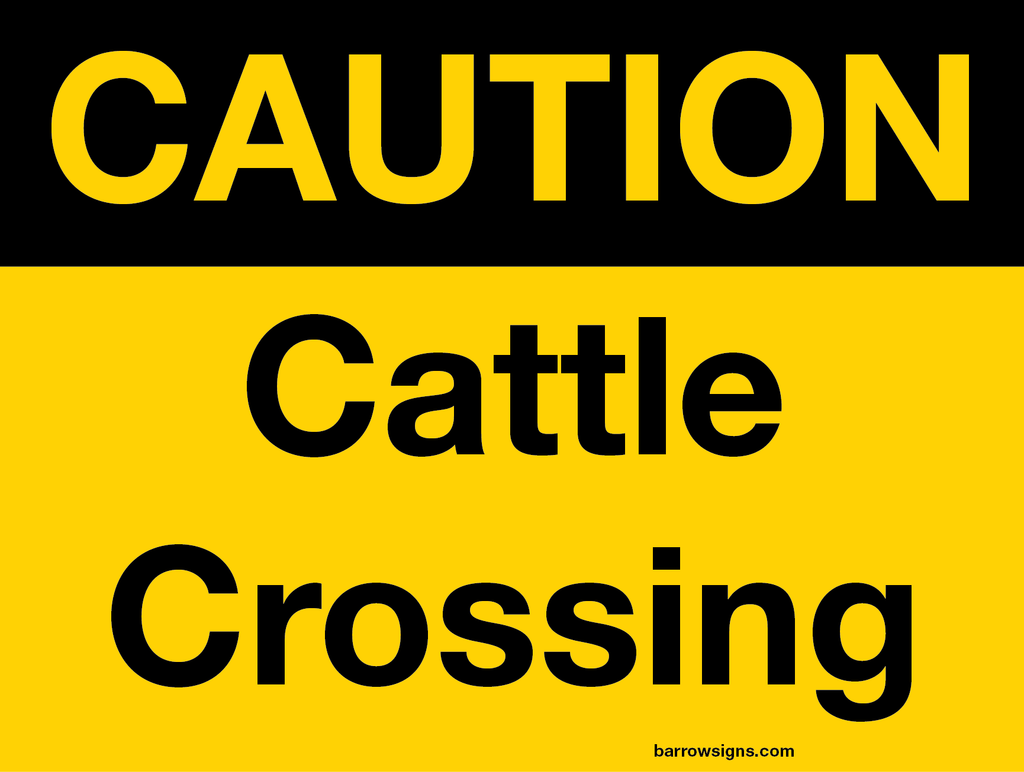 Caution Cattle Crossing