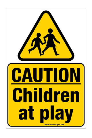 Caution Children At Play Sign (WITH POST FIXINGS)