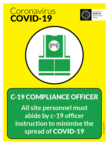 Comply With Covid 19 Officer signage for the costruction industry (CIF) for sale at www.signsonline.ie