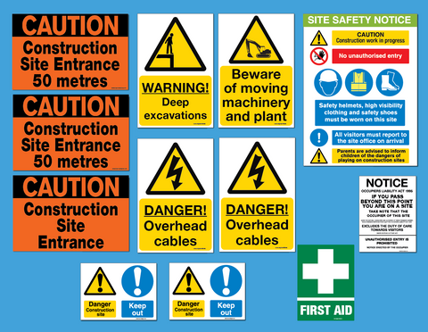 Extra Value Safety sign pack for building projects 12 signs for €120 for sale at www.signsonline.ie
