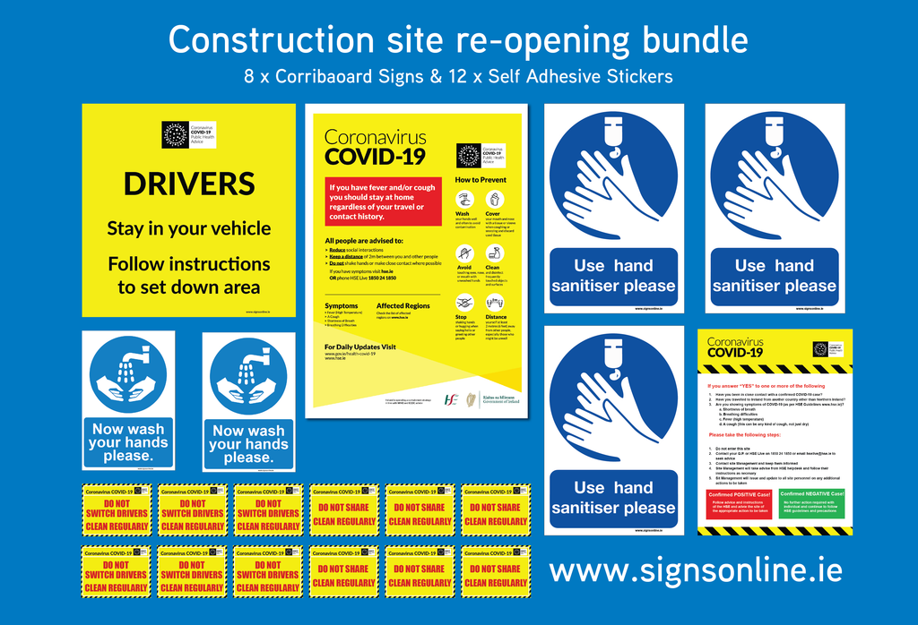 Construction Site Reopening Sign Bundle