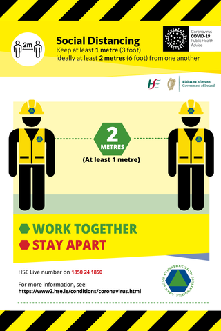 Social Distancing sign for construction sites Work Together Stay Apart for sale at www.signsonline.ie