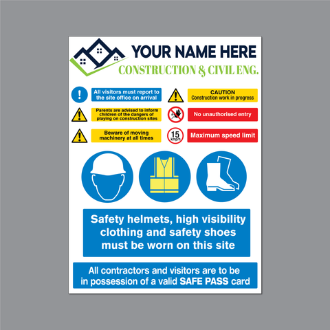 Construction or Building Site Safety Warning Sign for sale at www.barrowsigns.com Ireland