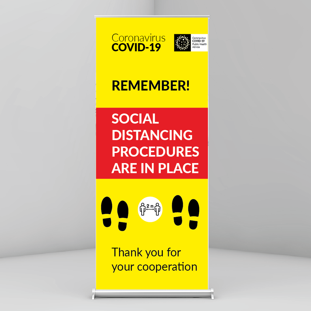 Roll Up Banner advising people of the Social Distancing Requirements as a result of Covid-19 available to buy online from www.signson.ine.ie