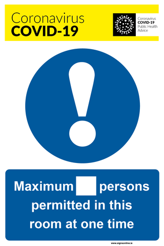 Maximum Number of Persons To Work In This ROOM sign for sale at www.signsonline.ie